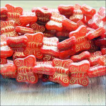 Czech Glass Butterfly Beads - Red