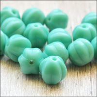 8mm Czech Glass Aqua Melon Beads