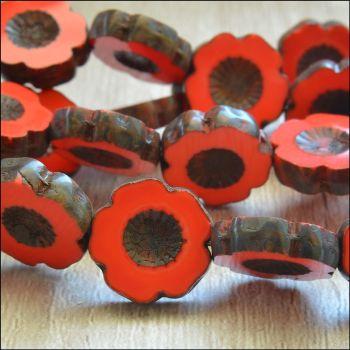 14mm Czech Glass Table Cut Flower Beads - Red