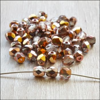 Czech Glass Faceted Fire Polished Beads 4mm Light Brown Gold