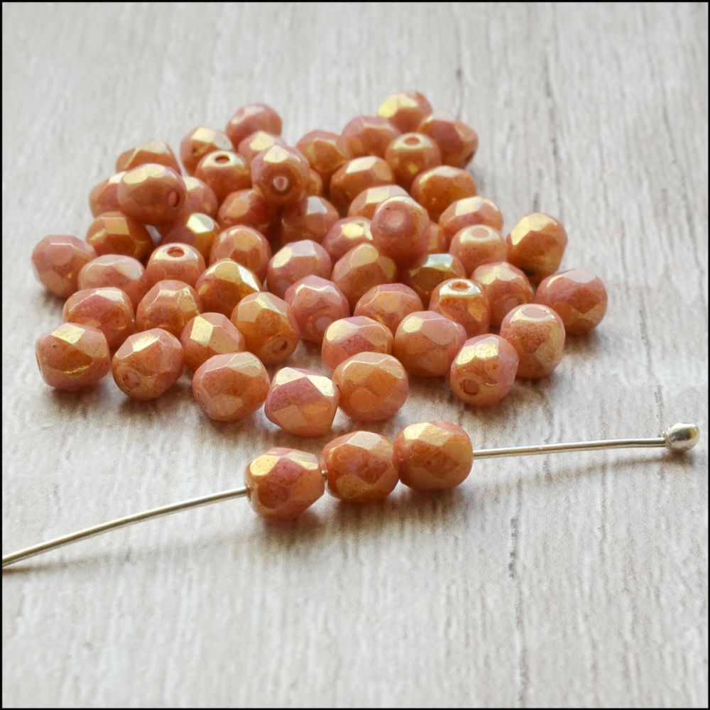 Czech Glass Faceted Fire Polished Beads 4mm Rose Gold Pink