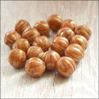 8mm Czech Glass  Melon Beads- Pink Gold