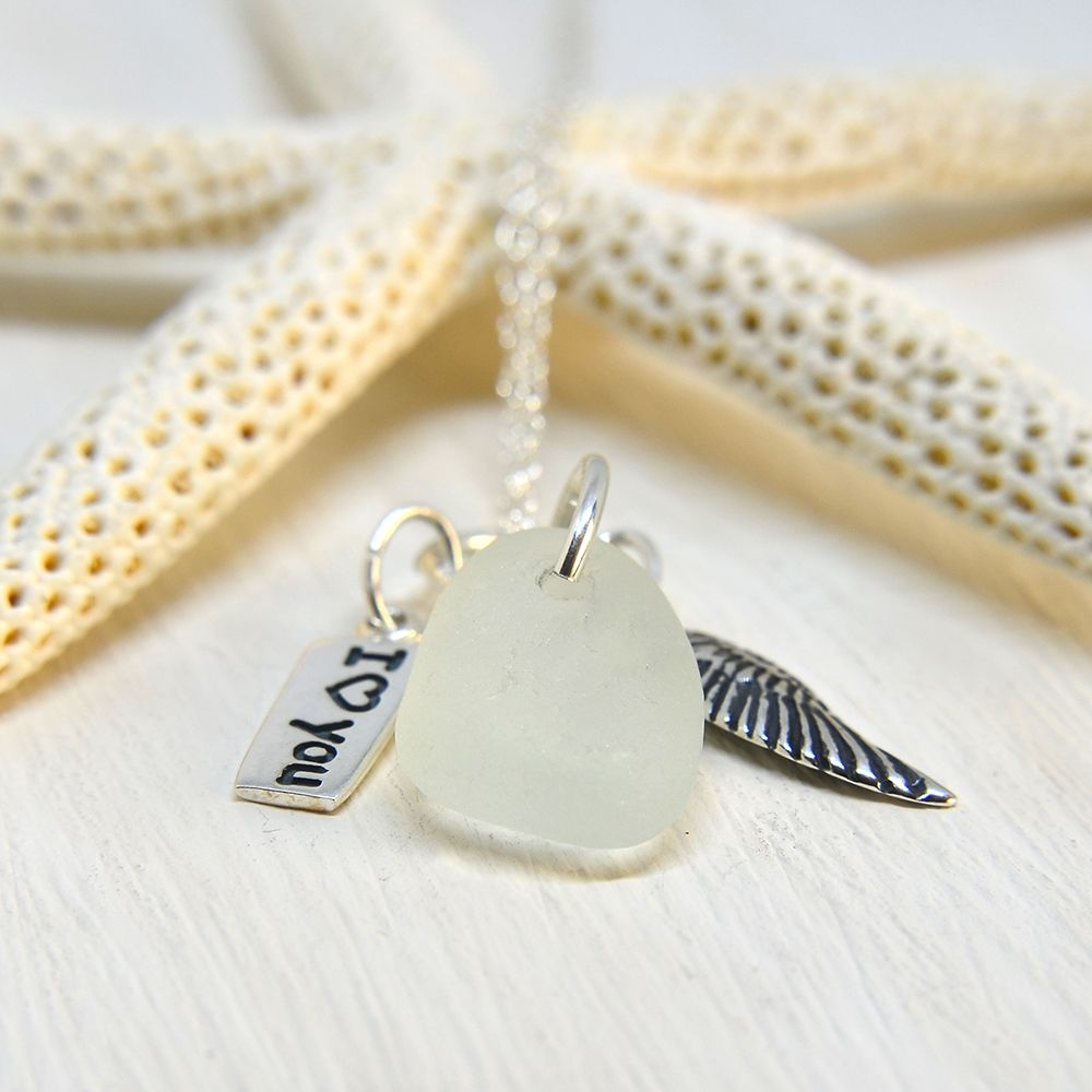 White Sea Glass And Sterling Silver Charm Necklace