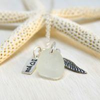 White Sea Glass And Sterling Silver Charms Necklace