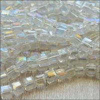 4mm Faceted Glass Cube Beads - Clear AB