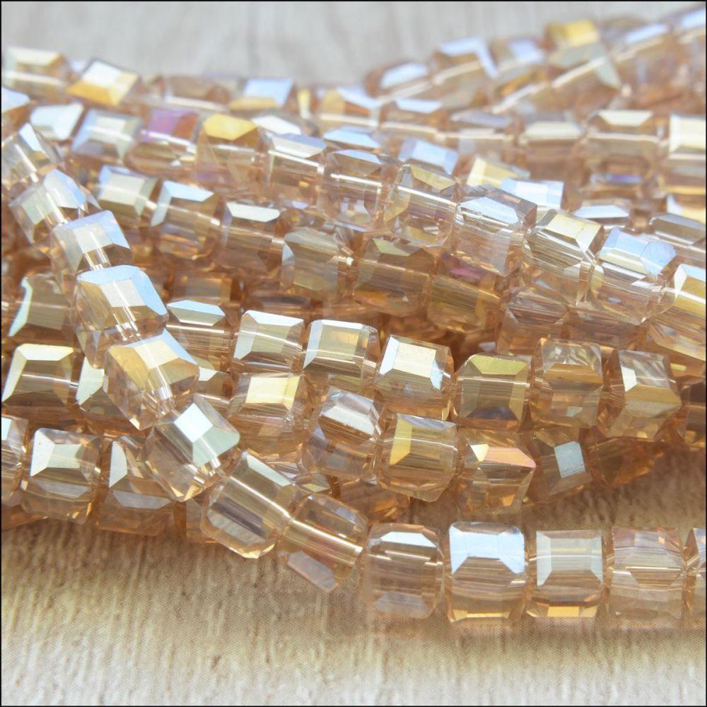4mm Faceted Glass Cube Beads - Champagne AB