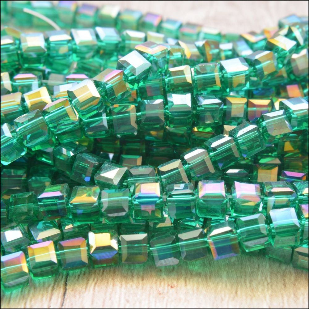 4mm Faceted Glass Cube Beads - Green AB