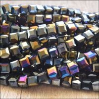 4mm Faceted Glass Cube Beads - Black AB