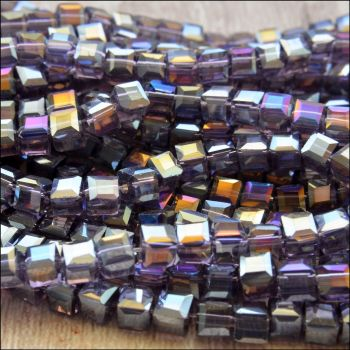 4mm Faceted Glass Cube Beads - Purple AB