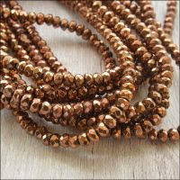 Electroplated Faceted Copper Plated Hematite Rondelle Beads 4x3mm
