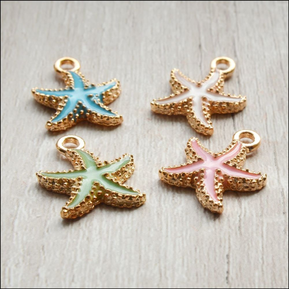 Light Gold Enamel Starfish Charms - Mixed Colours