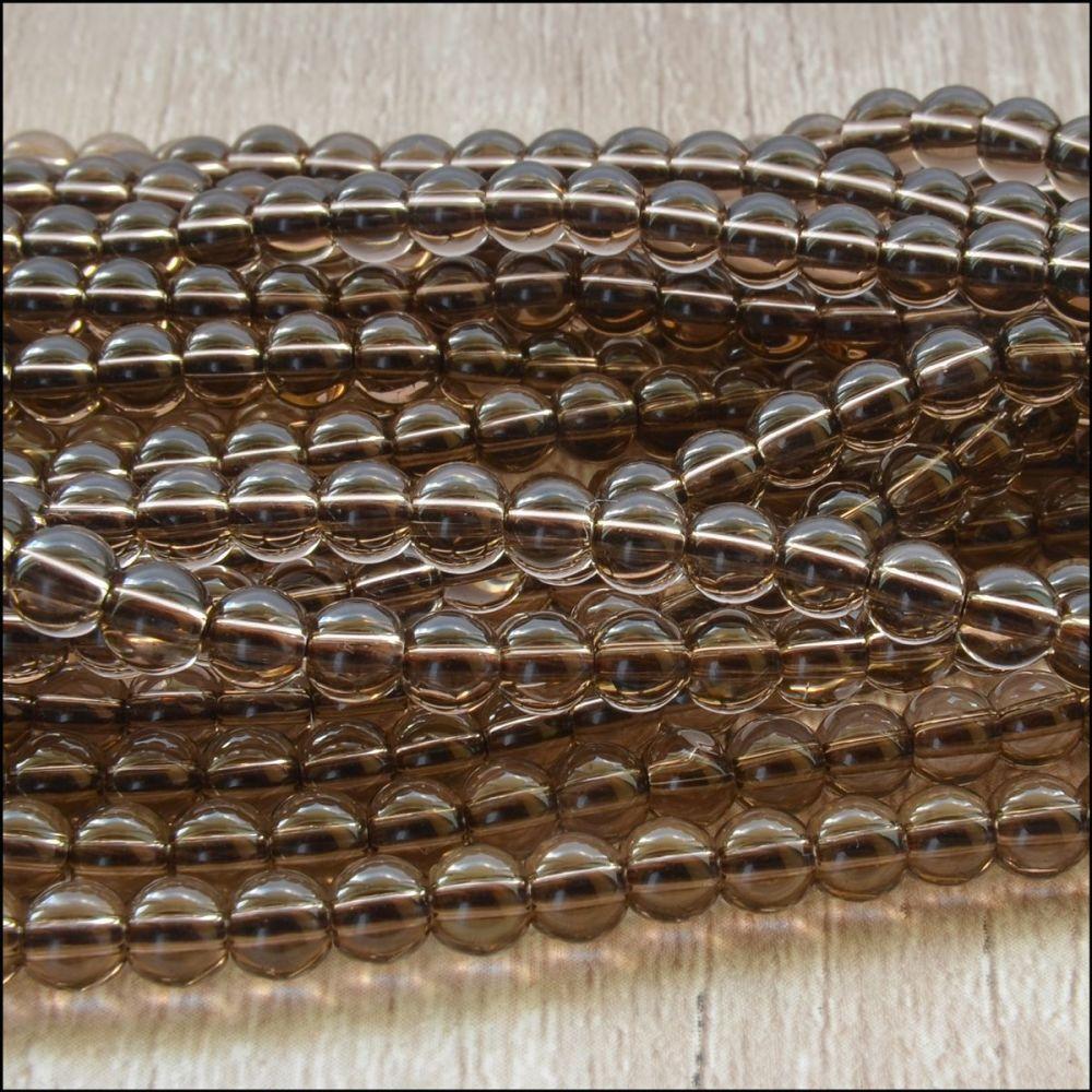 Smoky Quartz 4mm Plain Round Semi Precious Beads
