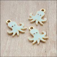 Light Gold Enamel Octopus Charms - Pale Blue