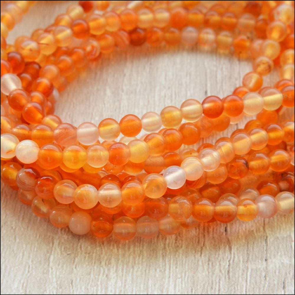 Carnelian 4mm Plain Round Gemstone Beads