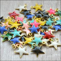 Light Gold Enamel Star Charms - Mixed Colours