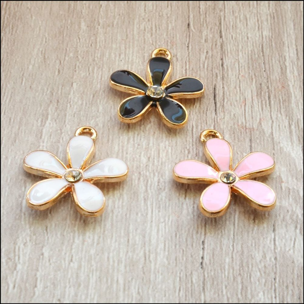 Light Gold Enamel Flower Charms - Pink, White or Black