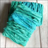 Peacock Green Sari Silk Ribbon