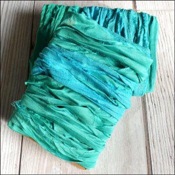 Peacock Green Sari Silk Ribbon