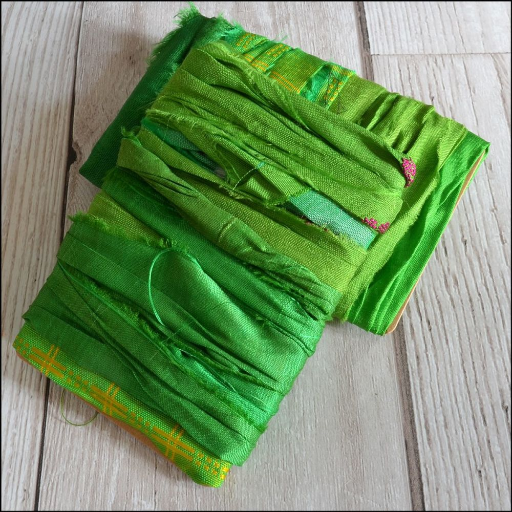 Rainforest Green Hand Dyed Sari Silk Ribbon