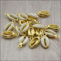 Light Gold Enamel Cowrie Shell Charms -