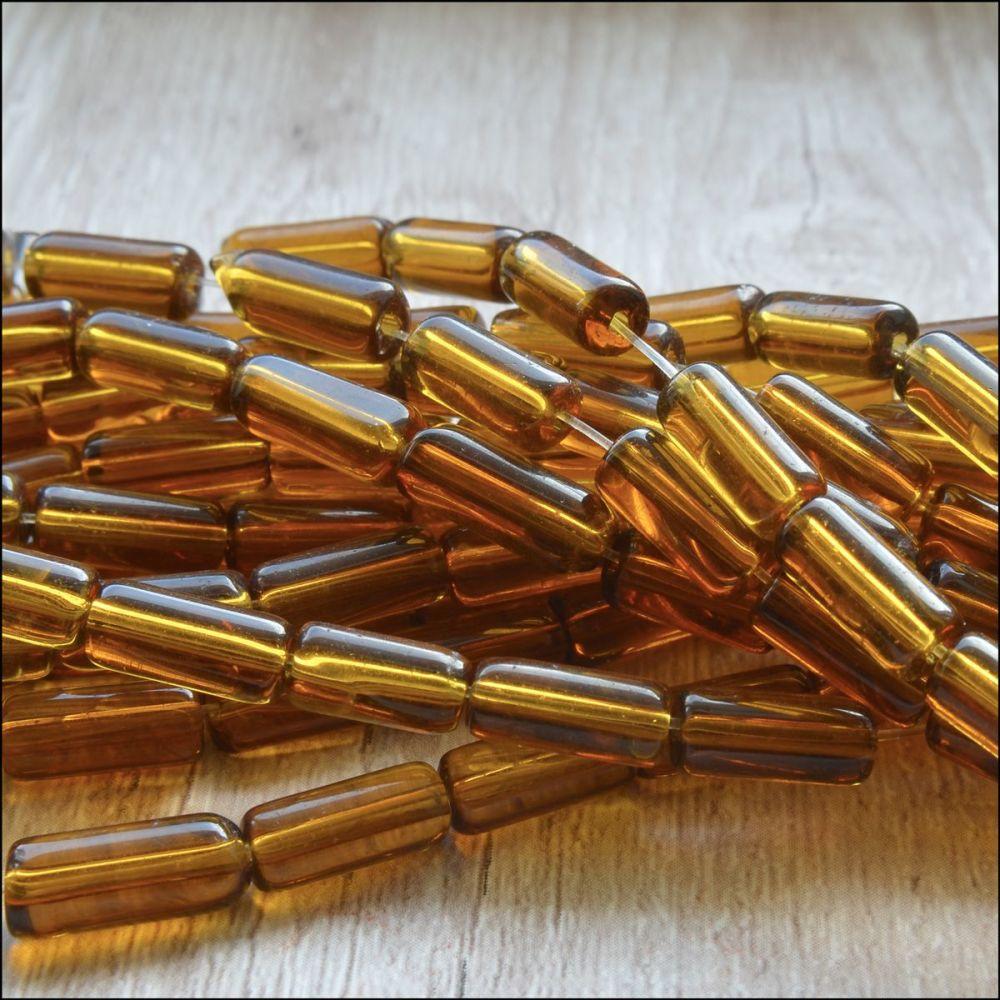 Amber Coloured Glass Tube Beads