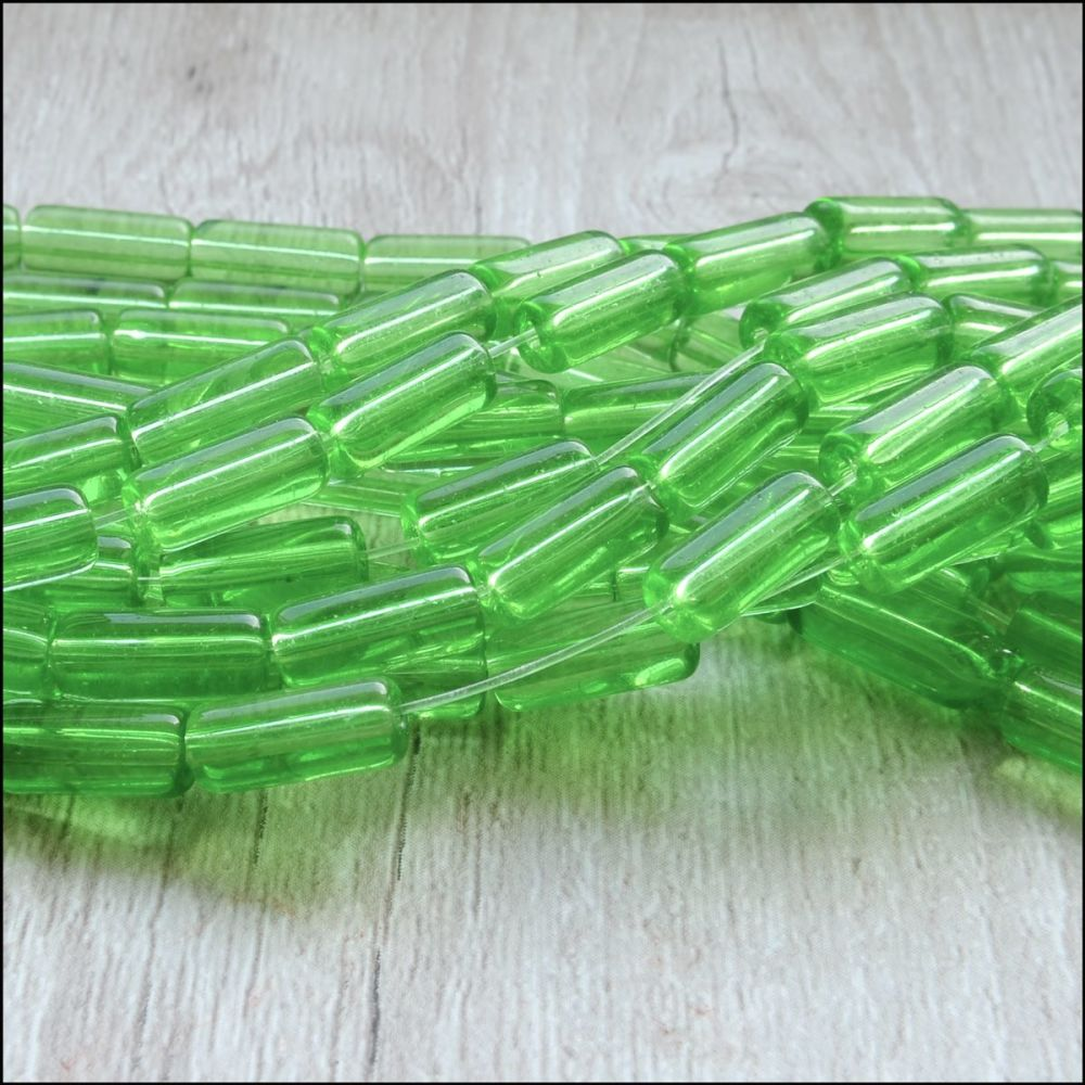 Green Coloured Glass Tube Beads