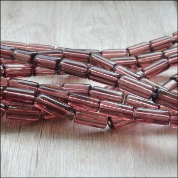 Amethyst Coloured Glass Tube Beads