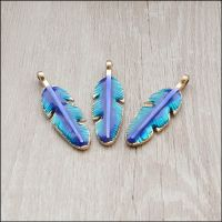 Light Gold Enamel Feather Charms