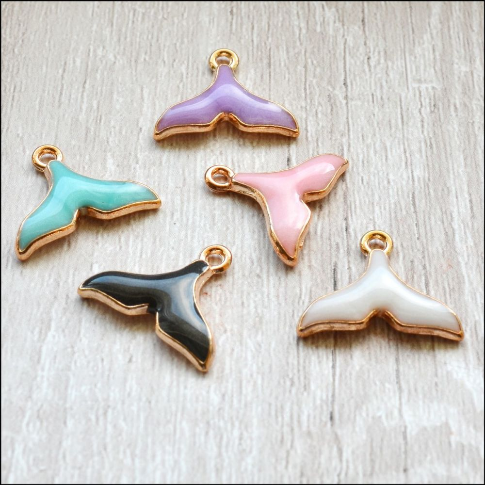 Light Gold Enamel Whale Tail Charms - Mixed Colours