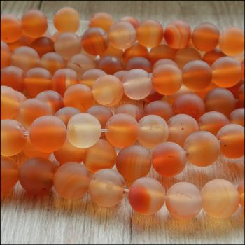 Frosted Carnelian 8mm Plain Round Beads