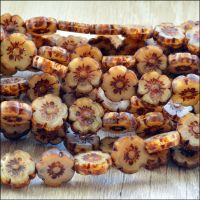 Mini Czech Table Cut Picasso Flower Beads - Coffee- 8mm