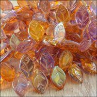 12mm Czech Glass Pressed Leaf Beads Purple & Gold AB Mix
