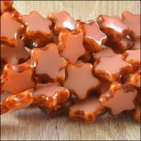 12mm Czech Glass Table Cut Star Beads  Opaque Pink - More