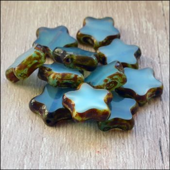 12mm Czech Glass Table Cut Star Beads  Opaque Blue