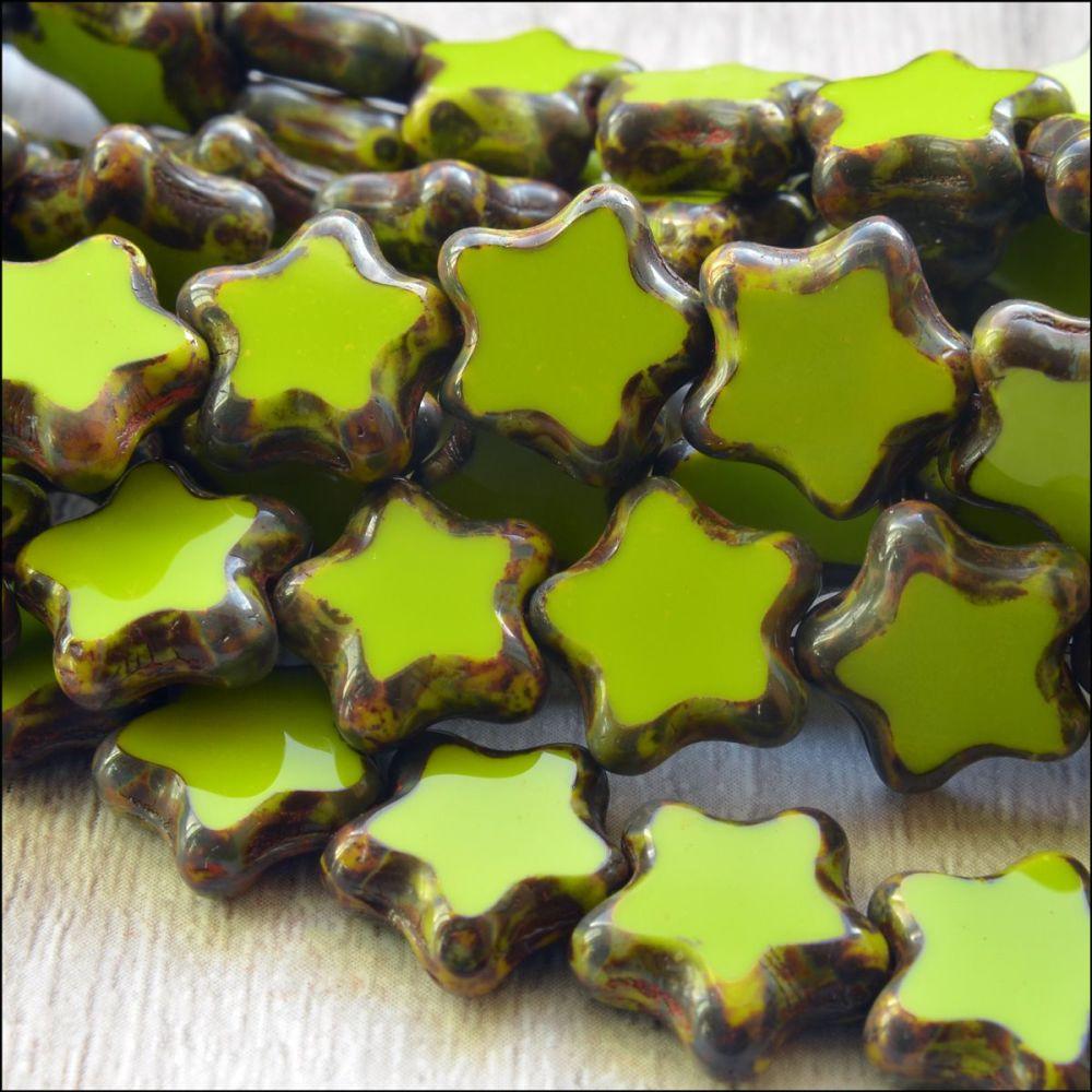 12mm Czech Glass Table Cut Star Beads  Opaque Yellow