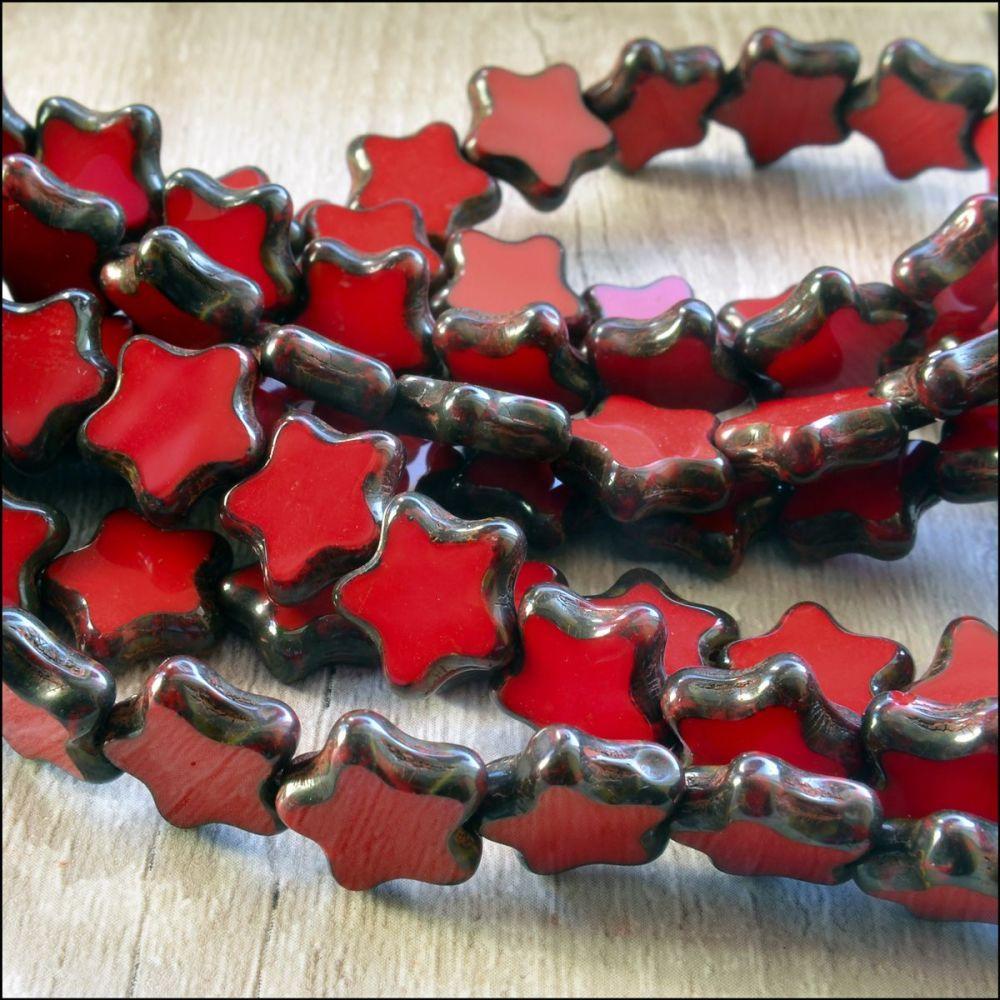 12mm Czech Glass Table Cut Star Beads  Opaque Red