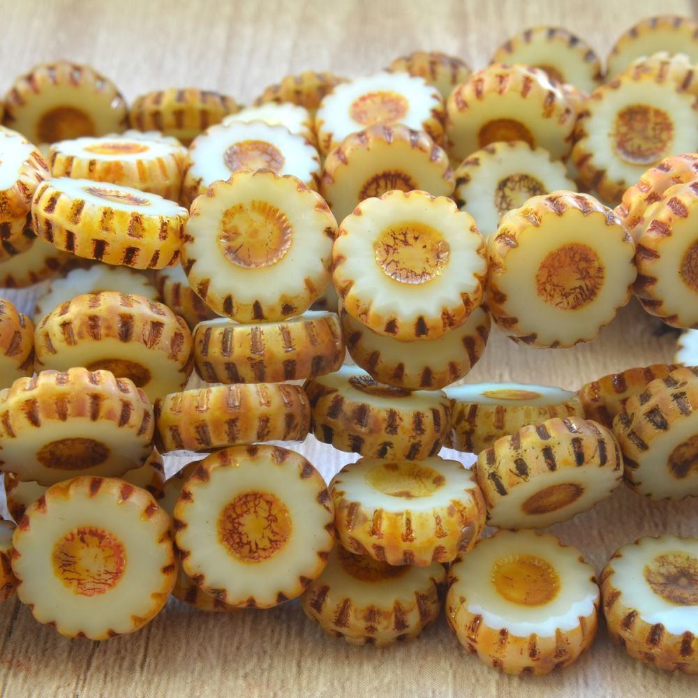 12mm Czech Glass Picasso Table Cut  Flower Beads -  Ivory
