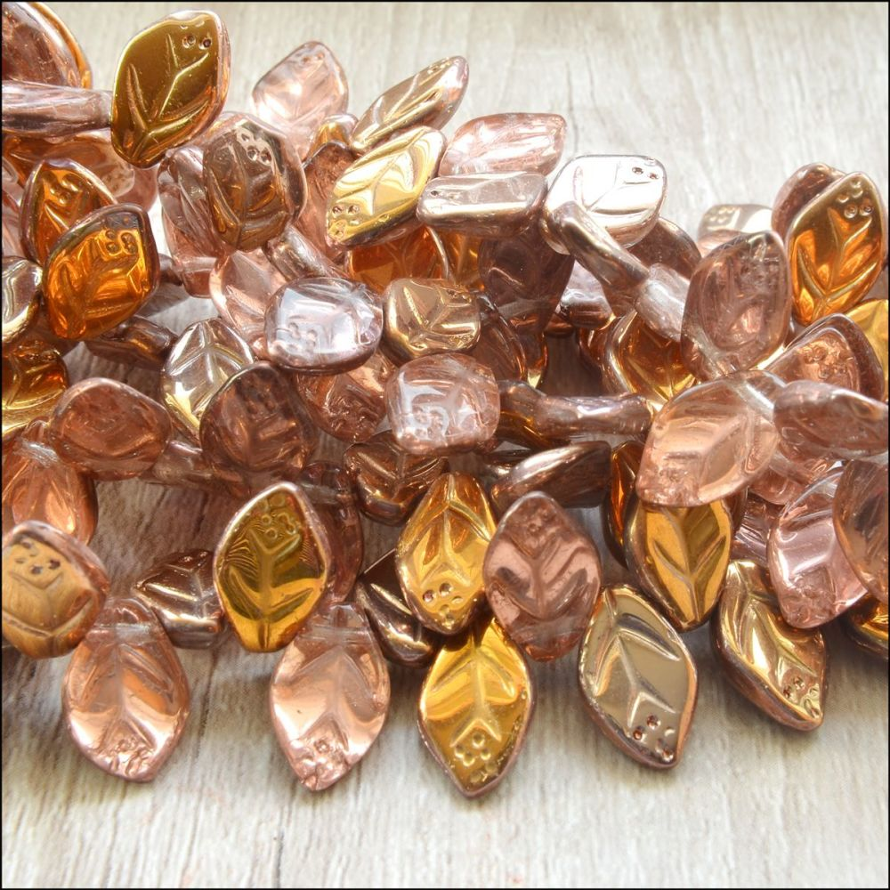12mm Czech Glass Pressed Leaf Beads Pink & Gold Mix
