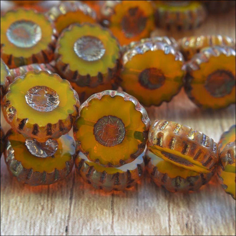 12mm Czech Glass Picasso Table Cut  Flower Beads -  Old Gold
