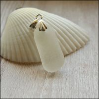 White Sea Glass  With sterling Silver Bail