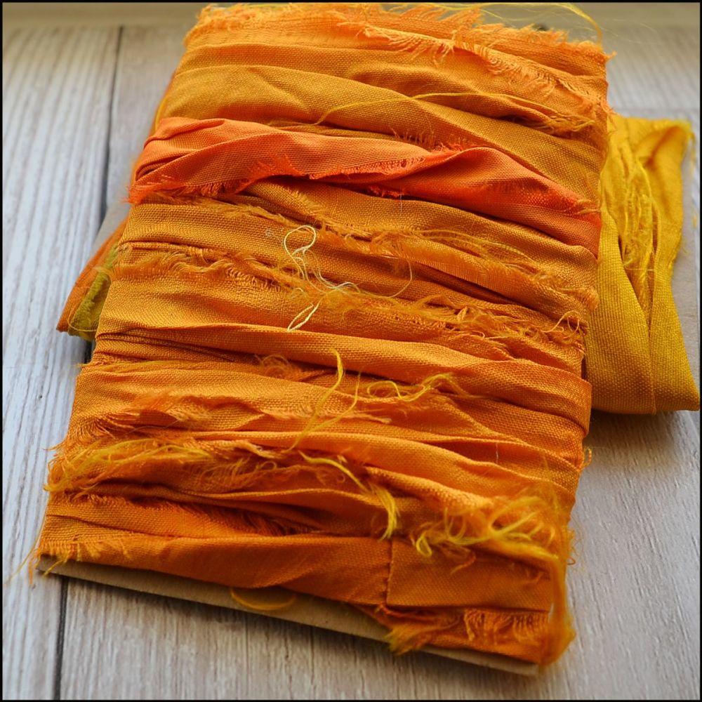 Golden Orange Sari Silk Ribbon