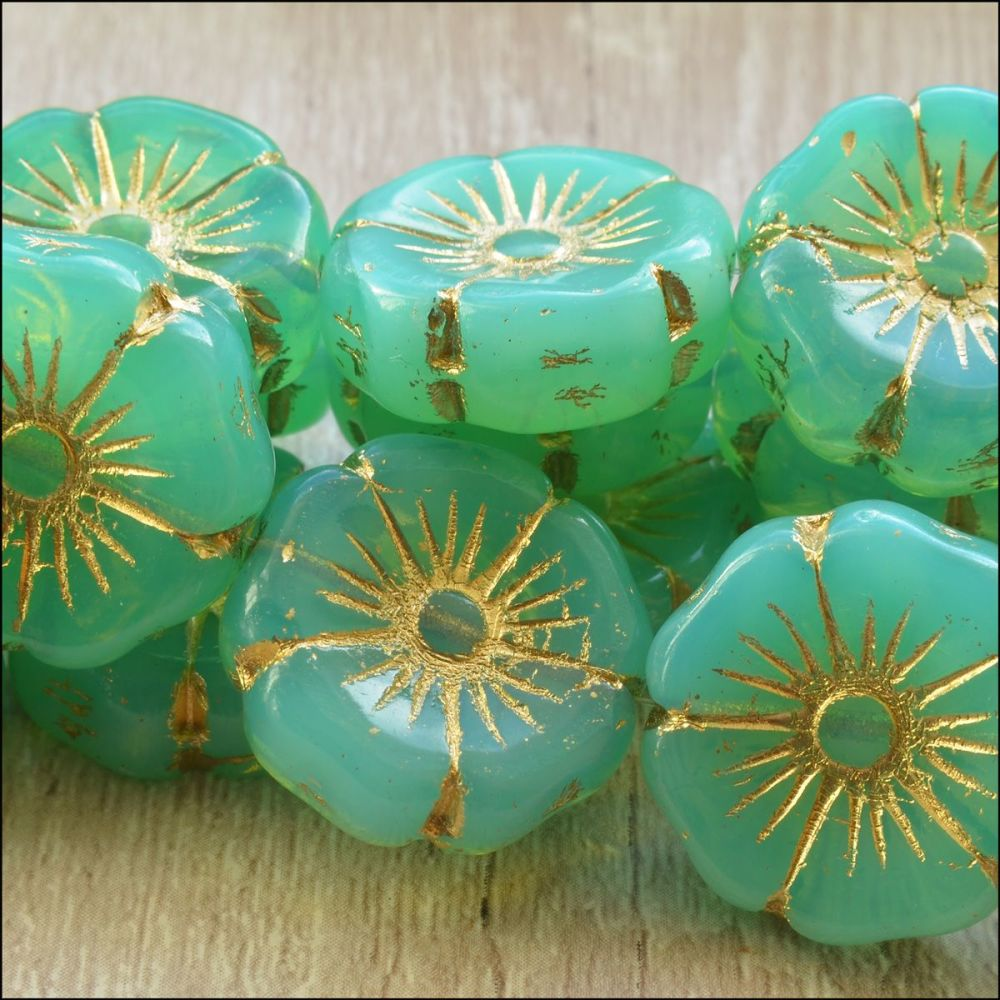 Czech Glass Hawaiian Flower Beads 20mm - Spearmint