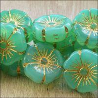 Czech Glass Hawaiian Flower Beads 20mm - Spearmint