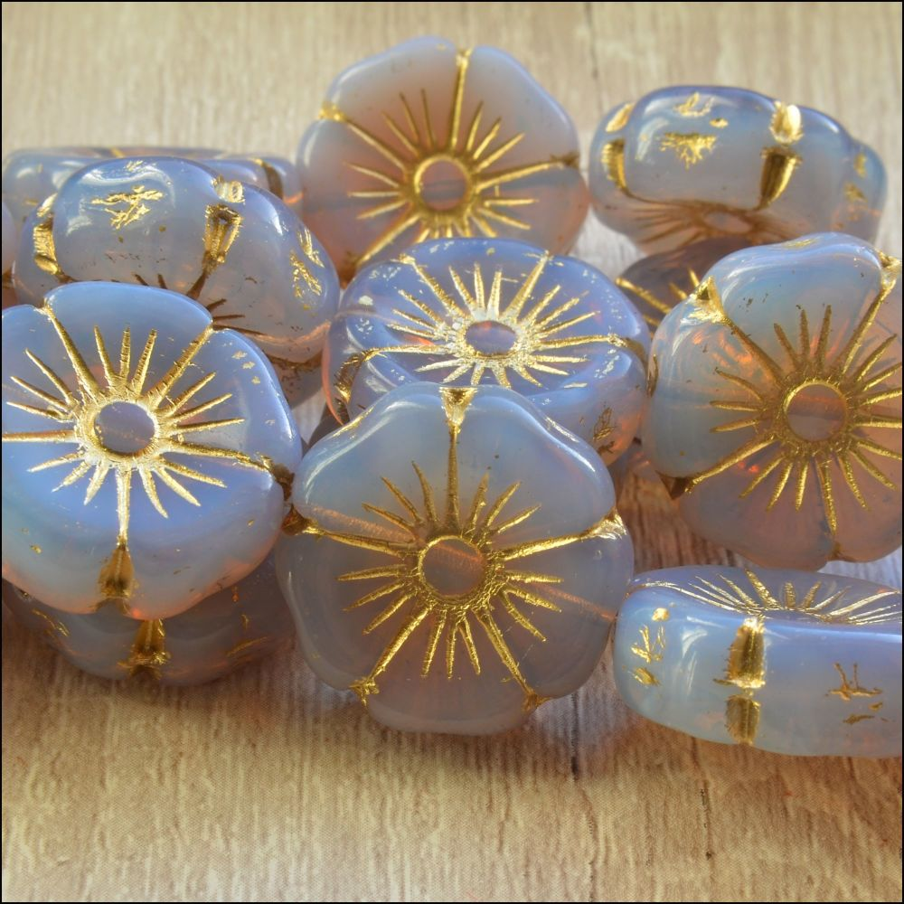 Czech Glass Hawaiian Flower Beads 20mm - Lilac
