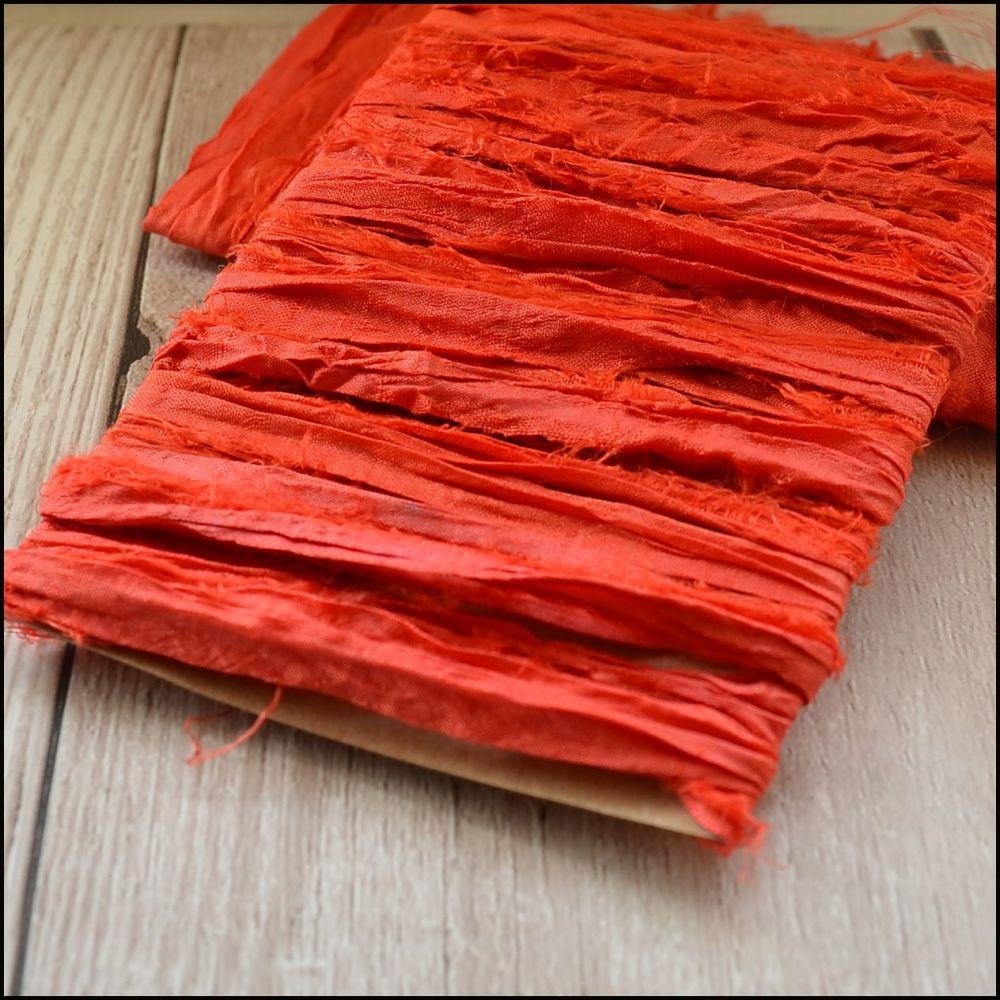 Coral Sari Silk Ribbon