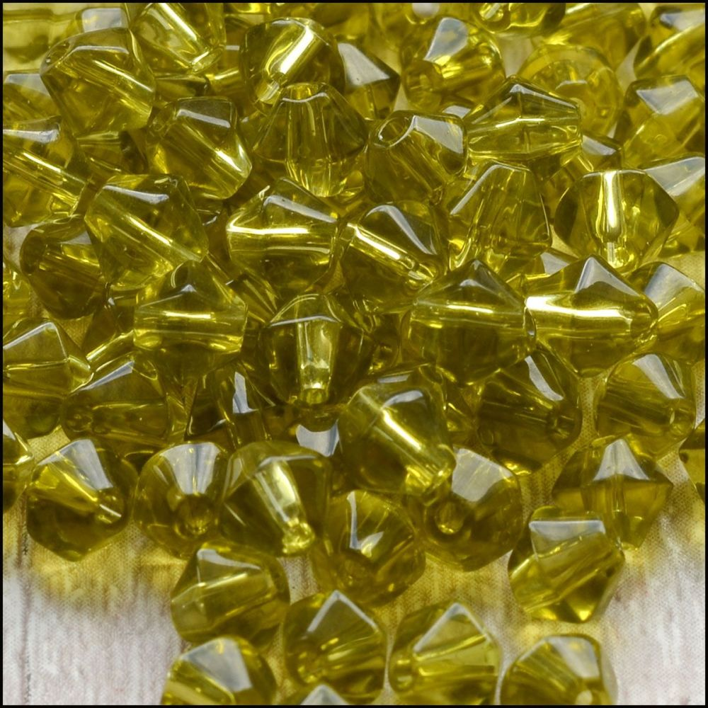 5mm  Glass Bicone Beads - Olive Green