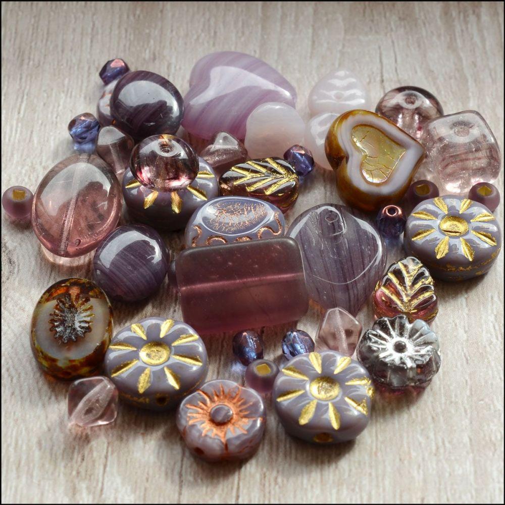 Purple Czech Glass Bead Variety Pack