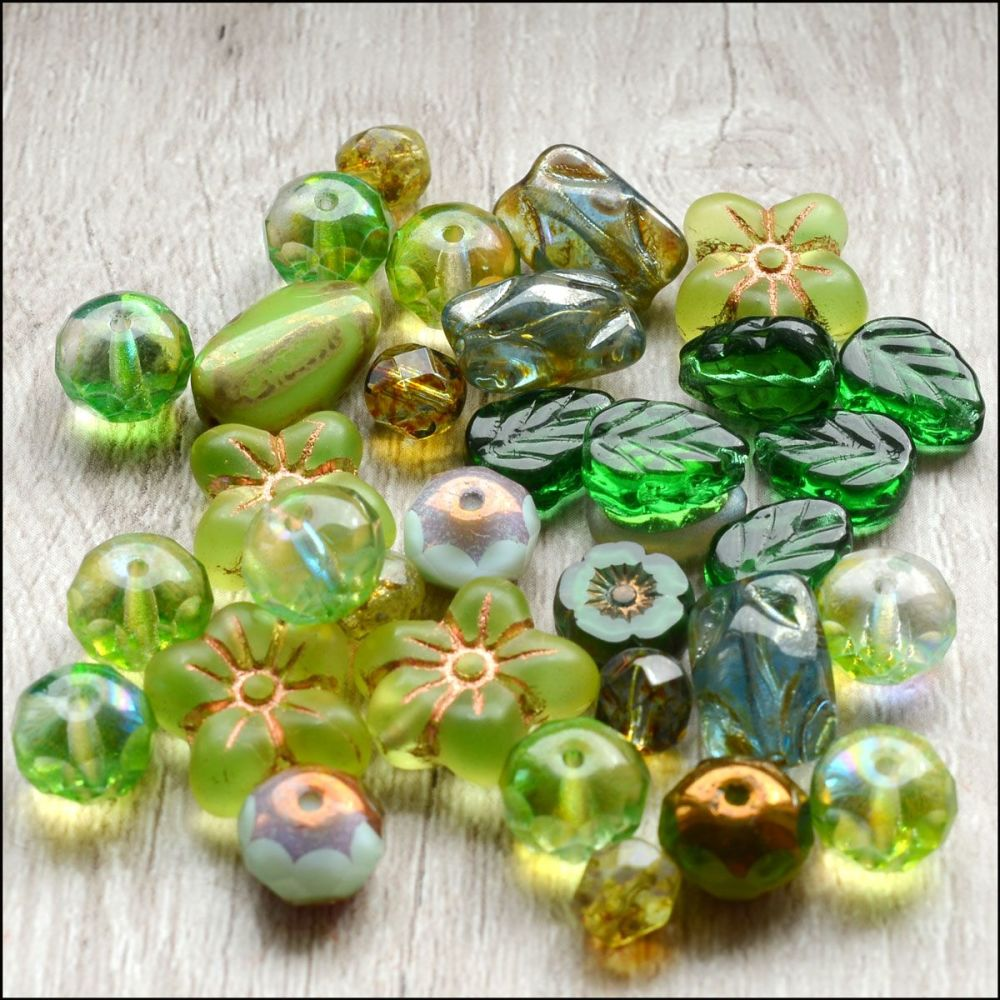 Green Czech Glass Bead Variety Pack