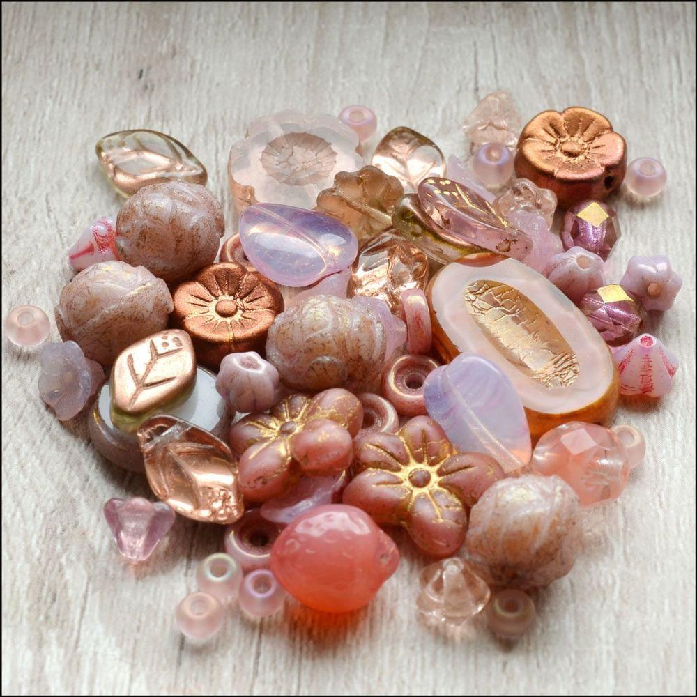 Pink Czech Glass Bead Variety Pack