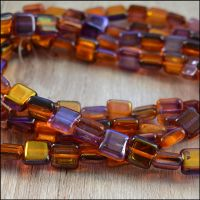 10mm Czech Glass Flat Square Beads - Purple & Gold Bright